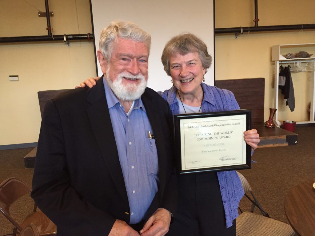 David and Fran Korten, respectively president of the board and executive director of YES! Magazine, accepting the Tikkun Olam award.