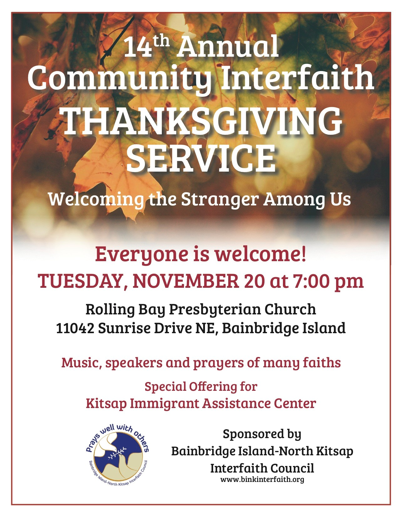 Thanksgiving Interfaith Service @ Rolling Bay Presbyterian Church | Bainbridge Island | Washington | United States